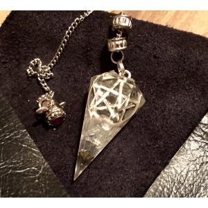 Orgonite pendel Bergkristal met pentagram