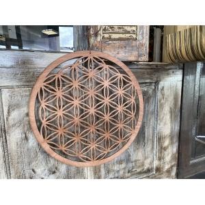Fleur de Vie | Levensbloem hout wand of raam ornament 55cm
