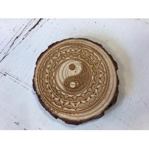 Houtschijf 9-10cm YinYang