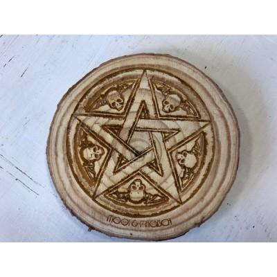 Houtschijf 9-10cm Pentagram