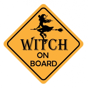 Auto/raam sticker witch on board1