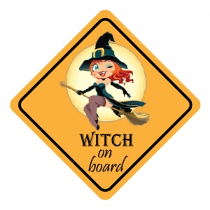 Auto/raam sticker witch on board2